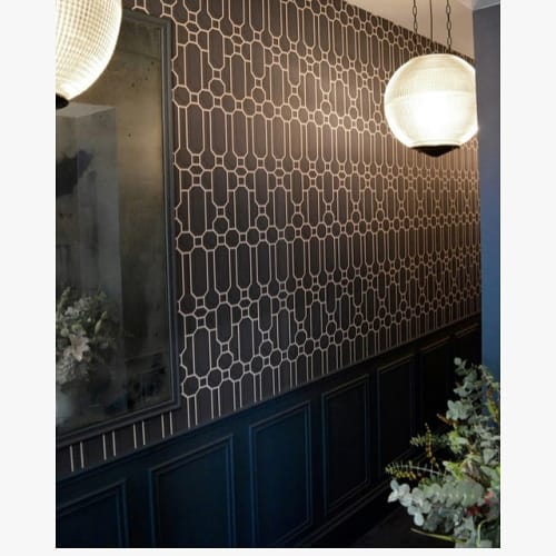 Wallpaper by Kit Miles seen at The Groucho Club, London - Fretwork