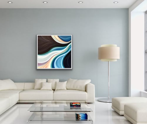Paintings by Laura Blue Art seen at Private Residence, Missoula - Linear Abstract Oil Painting