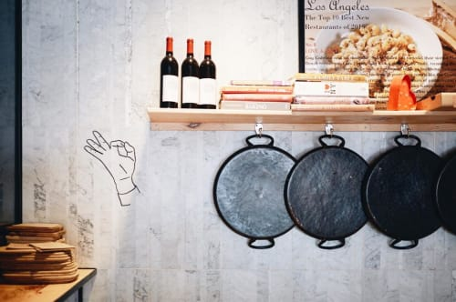 Signage by Leaf Cutter Studio seen at Love & Salt, Manhattan Beach - Italian Hand Sign Language Painting