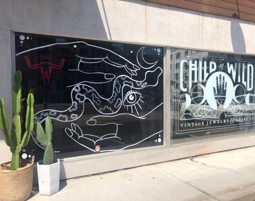 Murals by Wandering Delilah (Delilah Strukel) seen at Child of Wild Shoppe, San Diego - Window Art