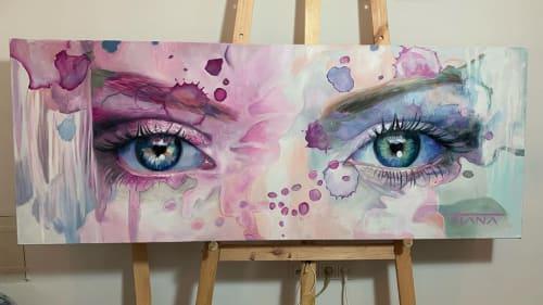 Paintings by Tiana Maros seen at Wiedner Nagelstudio, Wien - Blue Eyes