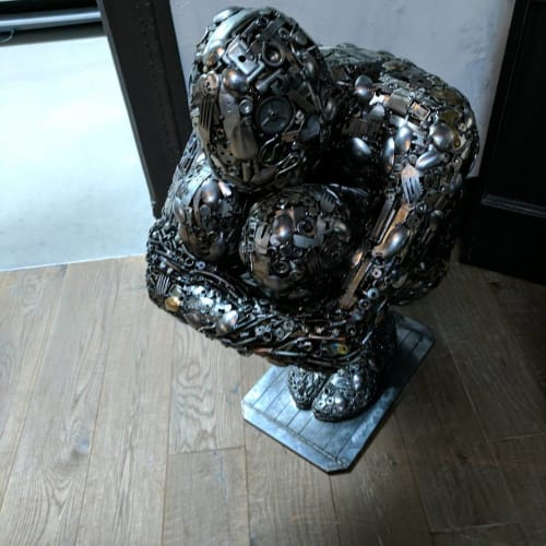 Sculptures by Brian Mock seen at Dirty Habit DC, Washington - Crouching Man Sculpture