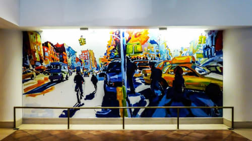 Murals by Tom Christopher seen at London Terrace Gardens, New York - London Terrace Gardens Mural
