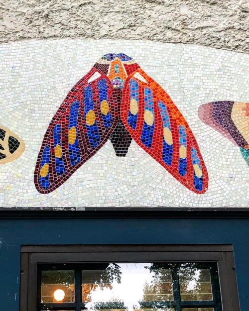 Public Mosaics by Josie Lewis Art seen at Private Residence - Moth/Butterfly Mosaic