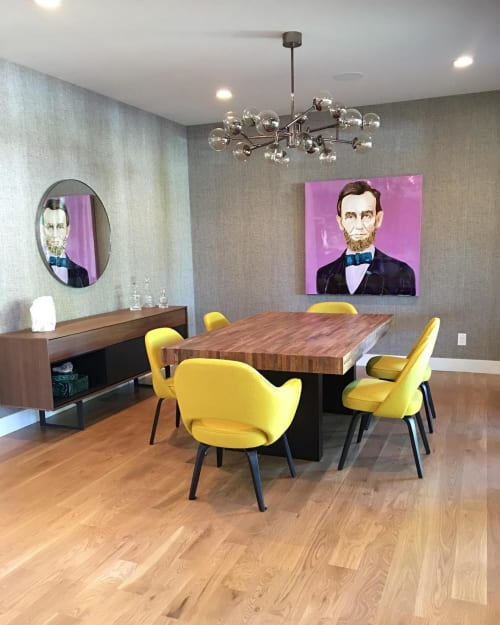 Paintings by Ashley Longshore at Private Residence, New York - Abraham Lincoln in Pink
