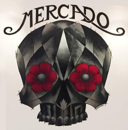 Murals by Carlos Nieto III seen at Mercado Hollywood, Los Angeles - Calavera Mural