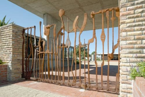 Sculptures by Conrad Hicks seen at Pinelands 2, Jewish Cemetery, Cape Town - Jewish Cemetery Gates