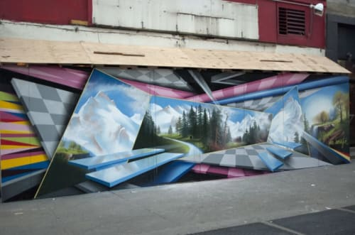 Street Murals by Peter Daverington seen at Chelsea, Manhattan, New York - Spray Paint on Wall