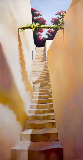 Murals by Evans & Brown seen at Scala's Bistro, San Francisco - Mural Staircase to Nowhere