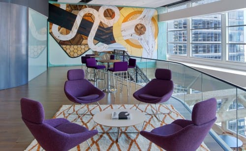 Murals by Chris Silva seen at CBRE Chicago, Chicago - CBRE Mural