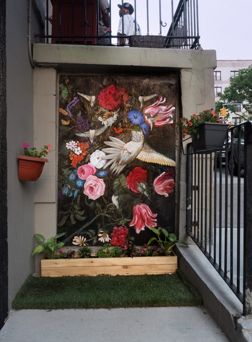Street Murals by Ashli Sisk seen at 601 West 149th Street, New York - Black-chinned Hummingbird