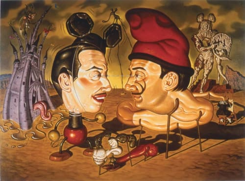 Paintings by Todd Schorr seen at Petit Ermitage, West Hollywood - Five O'clock Shadows in Disney-Dali Land