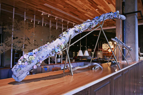 Art & Wall Decor by Eden Sierra seen at Founding Farmers Tysons, Tysons - Driftwood with Porcelain Flowers