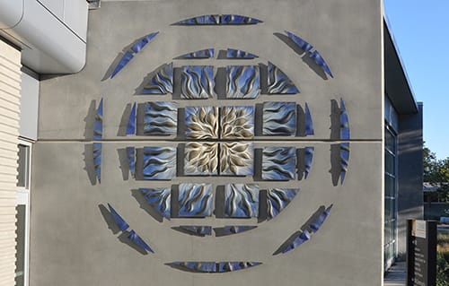 Murals by Natalie Blake Studios at Chabot College, Hayward - Blue Ripple Mandala