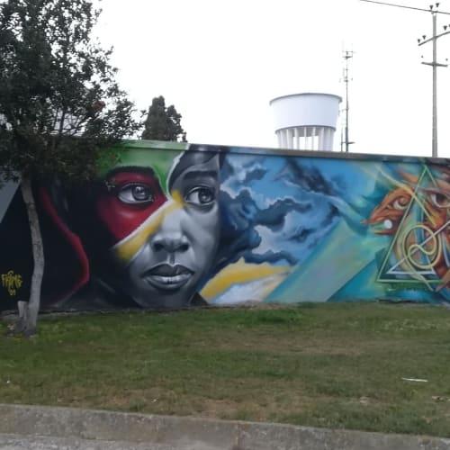 Murals by Luis Baldini seen at Moita, Moita - Mural