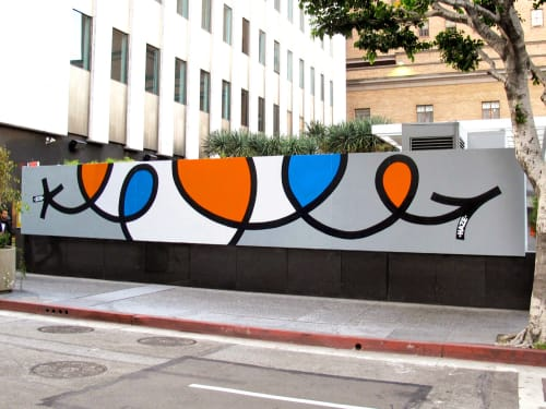 Murals by Eric Haze seen at The Standard, Downtown LA, Los Angeles - Line Mural