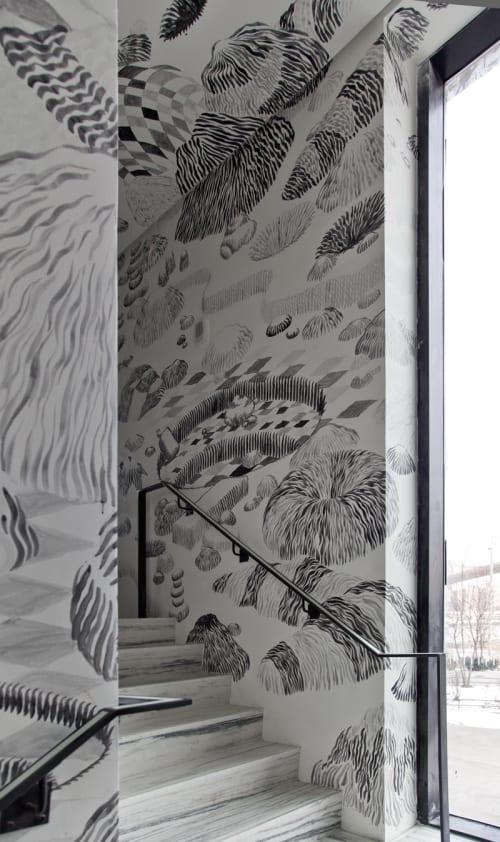 Murals by Alvaro Ilizarbe seen at 1 Hotel Brooklyn Bridge, Brooklyn - Stairwell Mural