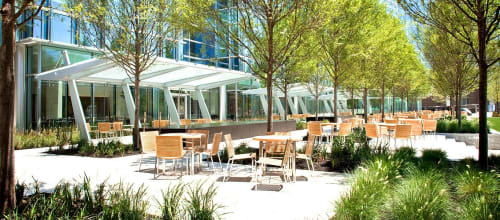 """Benches & Ottomans by Jane Hamley Wells seen at Devon Energy, Oklahoma City - """"BEO Table, round"""" and """"BEO Stacking Chair"""""""