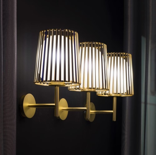 "Lamps by Daniel Becker Studio seen at Hotel Sofitel London St James, London - ""Julia"" Wall Lamp"