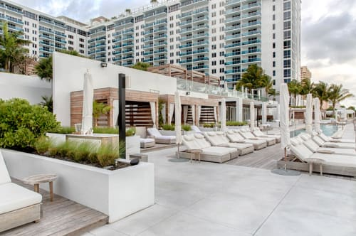 Wall Treatments by Advanced Millwork seen at 1 Hotel South Beach, Miami Beach - Teak Cabanas