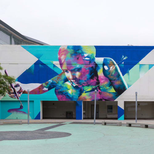 Murals by Hueman, Allison Torneros seen at Robert F. Kennedy Community Schools, Los Angeles - Inner Child