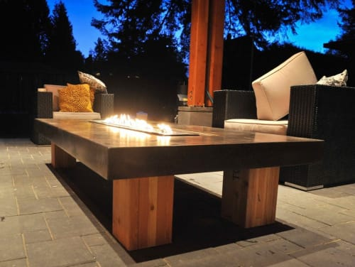 Fireplaces by Sticks and Stones Furniture seen at Private Residence, Squamish - Agora Fire Table