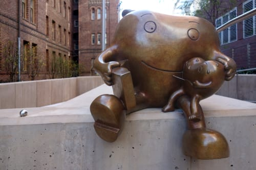 Sculptures by Tom Otterness seen at Zuckerberg San Francisco General Hospital and Trauma Center, San Francisco - Healing Hearts