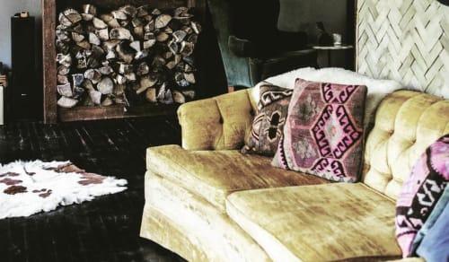Pillows by Hannah Loumeau Leonard (Loom + Kiln) seen at Foxfire Mountain House, Mount Tremper - Kilim pillows