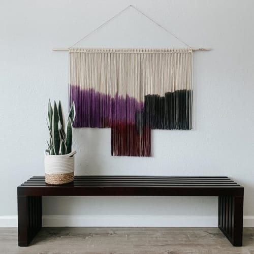 Purple and red macrame