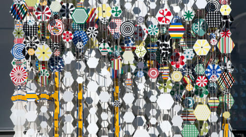 Sculptures by Jacob Hashimoto seen at Andaz West Hollywood, West Hollywood - Departure