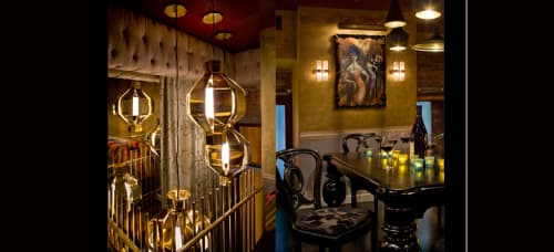 Lighting by Tom Dixon seen at Gitane, San Francisco - Big Brass Onion Lamps