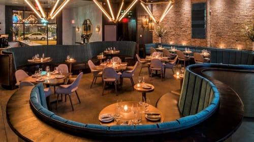 Chairs by Gregory Okshteyn of Studios Go seen at Samui, Brooklyn - Undulating Blue Banquettes