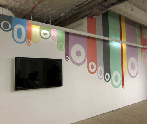 Murals by Greg Lamarche seen at Facebook, New York, Astor Place, New York - Conference Room Mural