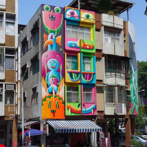 Street Murals by Nicolas Barrome seen at Kaohsiung, Kaohsiung - RUBICON