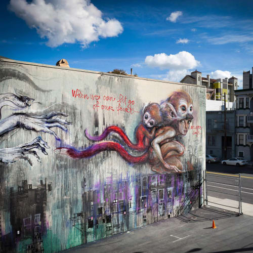 Street Murals by Herakut seen at 42-78 McCoppin St, San Francisco, CA, San Francisco - When We Can Let Go Our Fears We Are Safe