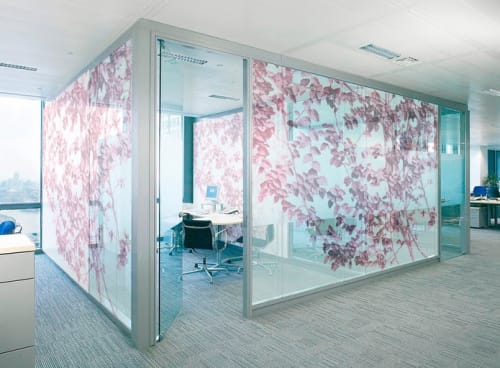 Art & Wall Decor by Artist Cheryl Maeder seen at Office Building, Miami, FL, Miami - Italian Summer, Magenta Glass Partition