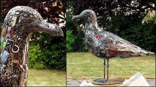 Sculptures by Brian Mock seen at Hotel Zephyr, San Francisco - Seagull Metal Sculpture