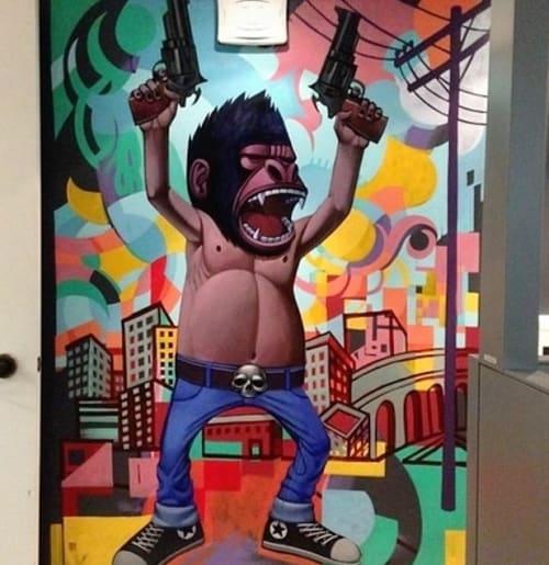 Murals by John Park seen at Beach Head Studios - Santa Monica,CA, Santa Monica - Armed Gorillas 2013