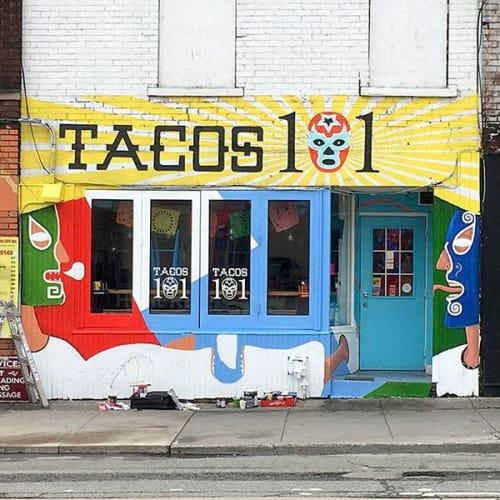 Murals by Alberto Cruz seen at Tacos 101, Toronto - Mural