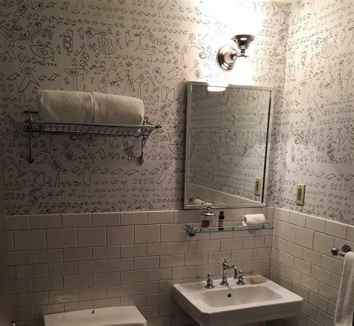 Wallpaper by Saul Steinberg at Soho Grand Hotel, New York - Aviary Wallpaper