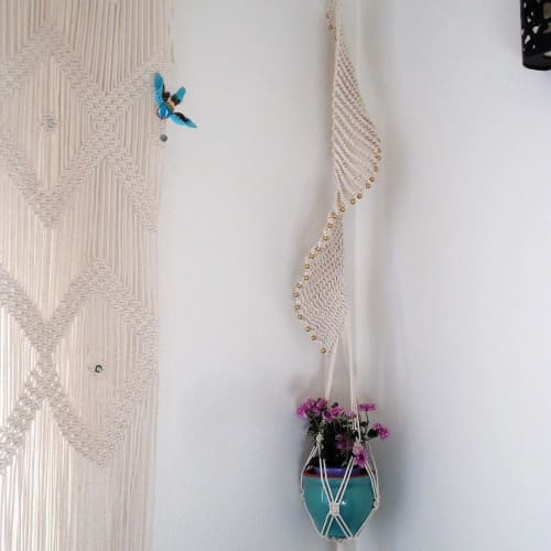Macrame Wall Hanging by YaShi Handmade seen at Private Residence, Milpitas - Spiral Plant Hanger