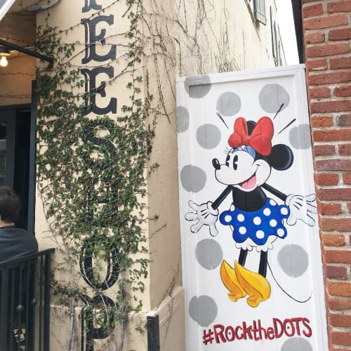 Murals by Jeff Shelly Illustration seen at Alfred Coffee (Melrose Place), Los Angeles - Custom Mural Minnie Mouse
