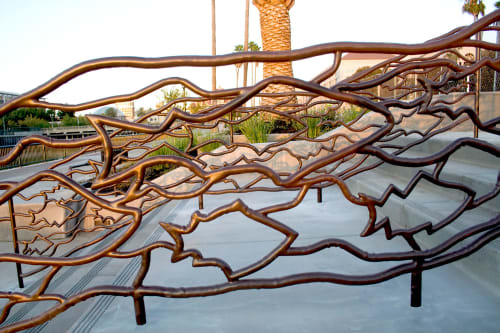 Sculptures by Eric Powell seen at Stockton Downtown Marina, Stockton - School Of Fish Railings