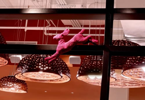 Sculptures by Rachel Denny seen at Founding Farmers Tysons, Tysons - Knitted Bunnies