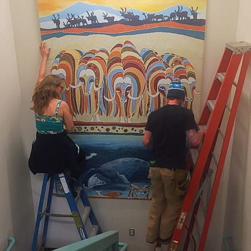 Paintings by Dawn Gerety seen at 550 W 7th Ave, Anchorage - 1% Mural