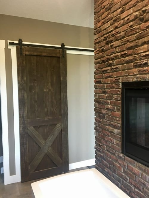 Furniture by Cask Woodworking seen at Private Residence, Sherwood Park - Single Douglas Fir Barn Door