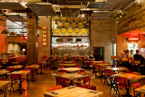 Tables by District Mills seen at Umami Burger, Los Angeles - Dining And High Tables