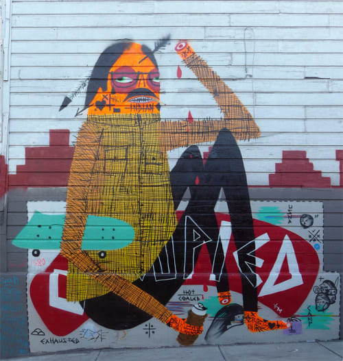 Street Murals by Spencer Keeton Cunningham seen at Austin Street and Polk Street, SF, San Francisco - American Indian Occupation