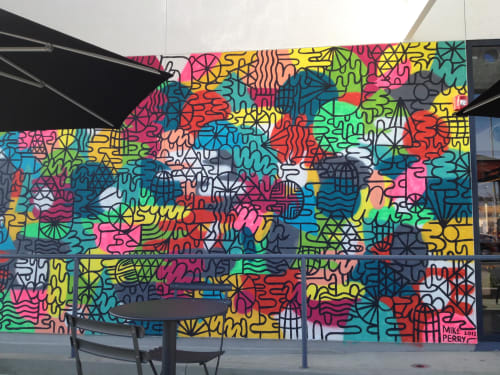 Murals by Mike Perry Studio seen at Chipotle Mexican Grill, Los Angeles - Outdoor Wall Art