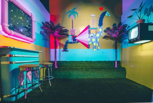 Murals by Drigo seen at Sweet Tooth Hotel, Dallas - Astral Diner - The Greenhouse Oasis